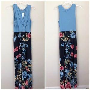 Gilli • tahz 2fer knit floral maxi dress in black